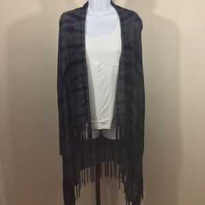 Gray & Purple Cynthia Rowley Fringe Cardigan